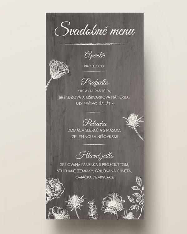 svadobné menu s motívom poľných kvetov