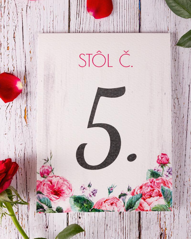 ea510bdd5bef Svadobné číslovanie s motívom ruží - Ruža 02 - oznamimto.ská