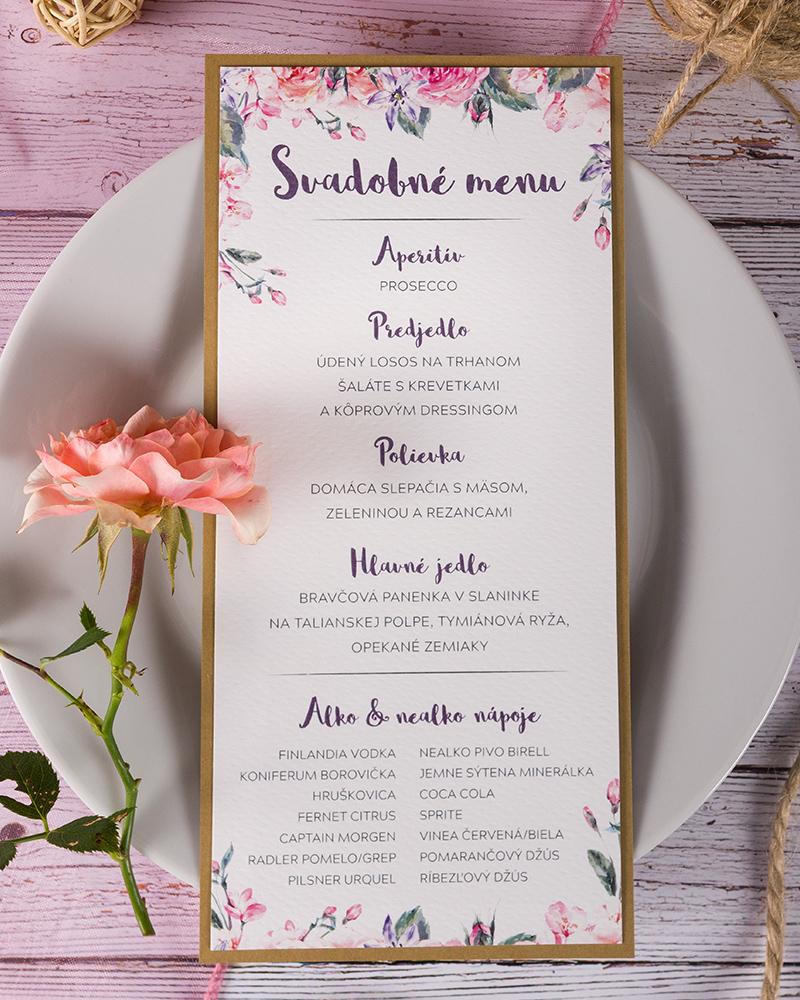 f59f5a9d3601 Svadobné menu s motívom ruží - Vintage 02 - oznamimto.sk