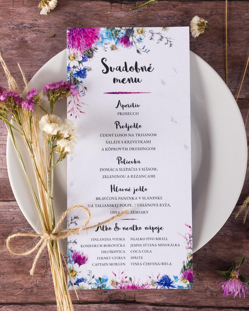 3df4ebae4e74 Svadobné menu s motívom poľných kvetov - Ruža 02 - oznamimto.sk