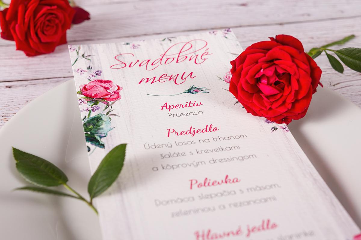 e64dbc53efd4 Svadobné menu vo vintage štýle - Ruža 02 - oznamimto.sk