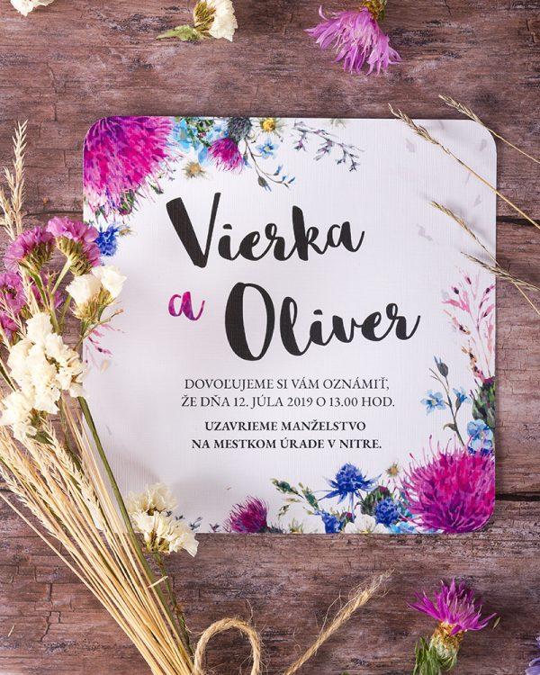 svadobné oznámenia poľné kvety