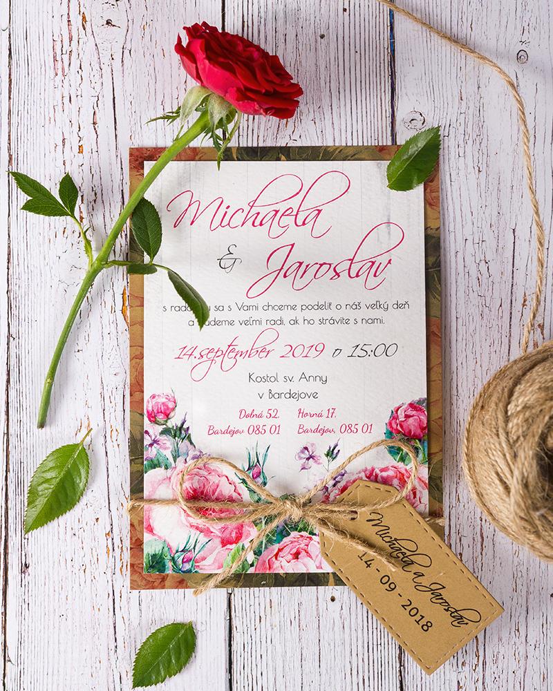 e42591fe6977 Svadobné oznámenie s ružami a vintage prvkami - oznamimto.sk