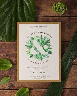 svadobné oznámenia greenery