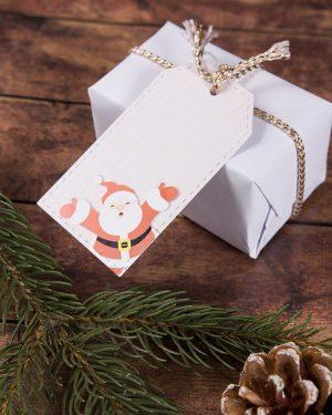 vianočné visačky menovky so santa clausom