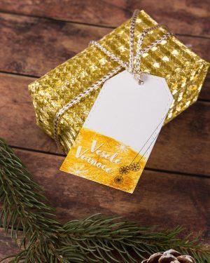 vianočné visačky menovky so zlatým motívom
