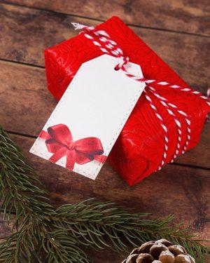 luxusné vianočné visačky menovky s mašlou