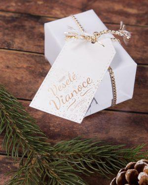vianočné visačky čisté so zlatým motívom