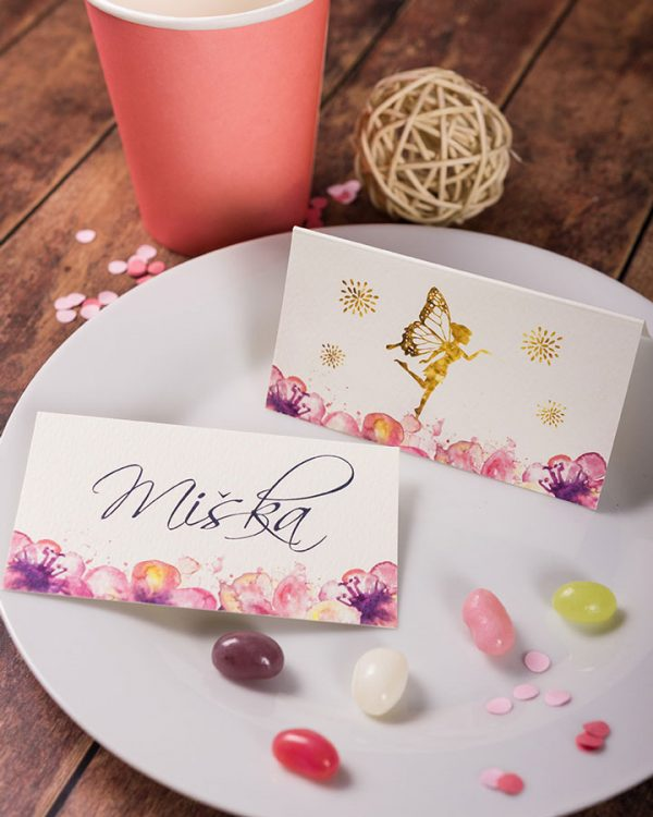 Menovky na stôl a pozvánky s motívom víly