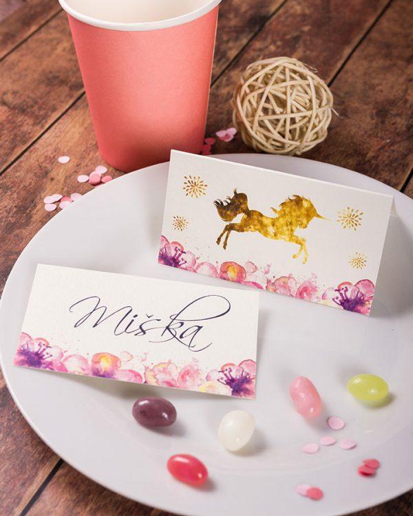 Menovky na stôl a pozvánky s motívom jednorožca