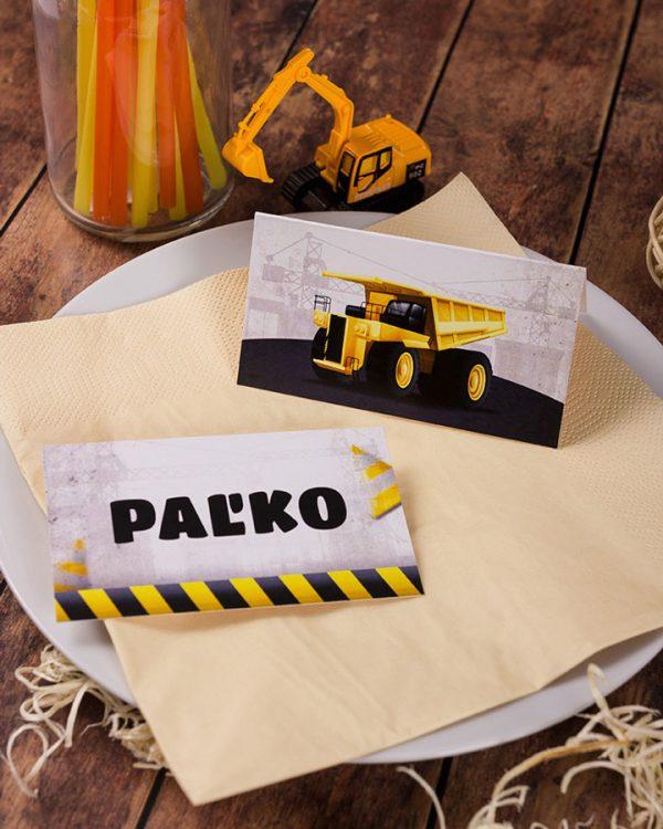 Menovky na stôl a pozvánky s motívom nákladného auta