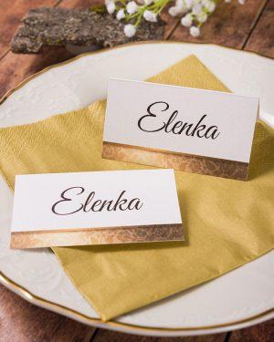 Luxusné menovky na stôl so zlatou ružou