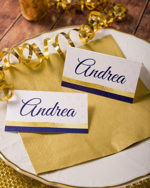 Luxusné zlato modré menovky na stôl