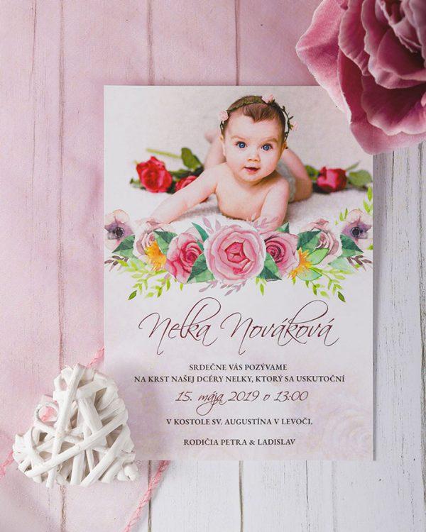 pozvanky na krst s vlastnou fotkou pre dievcatko