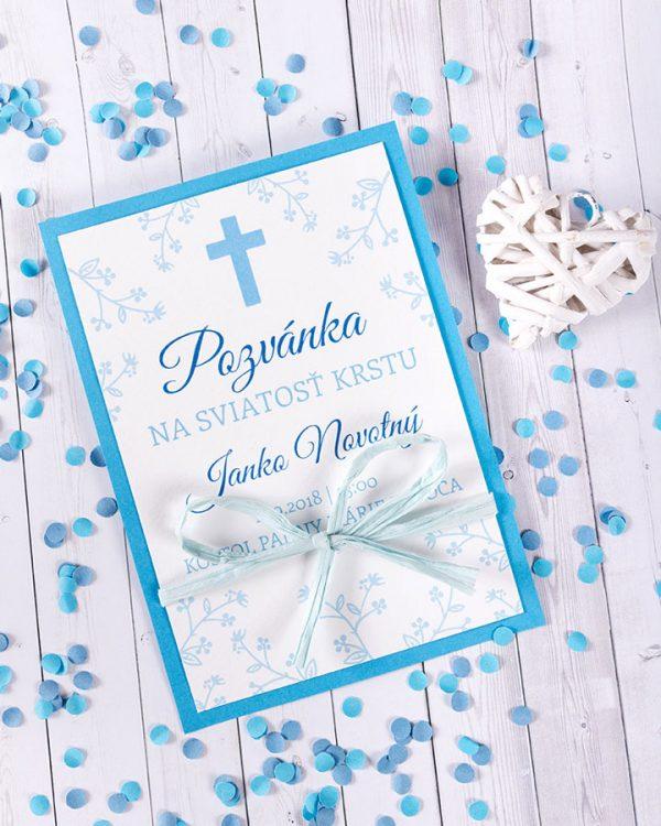 Trendy pozvánka na krstiny so stuhou pre chlapca