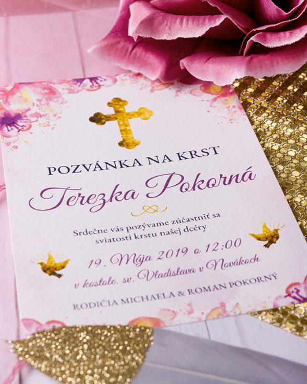 Pozvánka na krst v zlato ružovom motíve