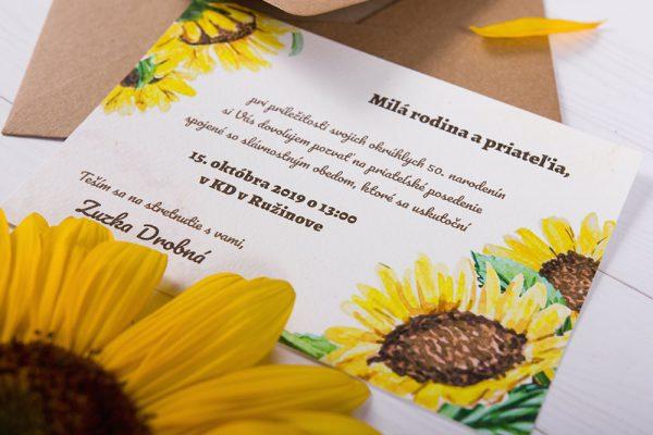 pozvanky na oslavu jubilea slnečnica