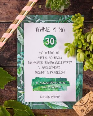 pozvánky na narodeniny greenery