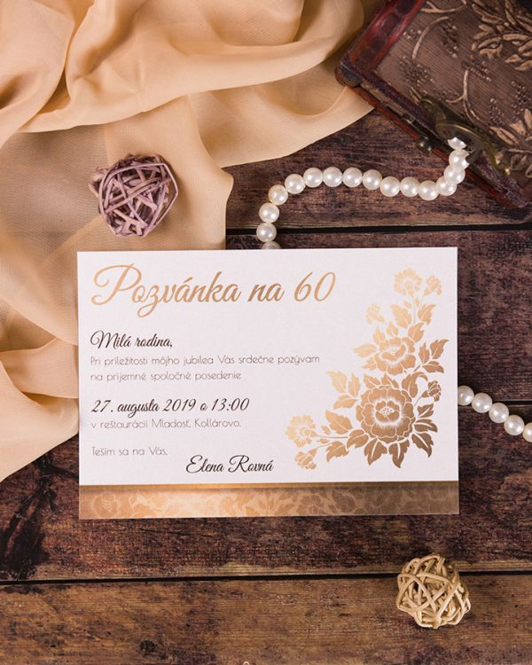 Pozvánky na oslavu jubilea s imitáciou zlatého motívu s ružou
