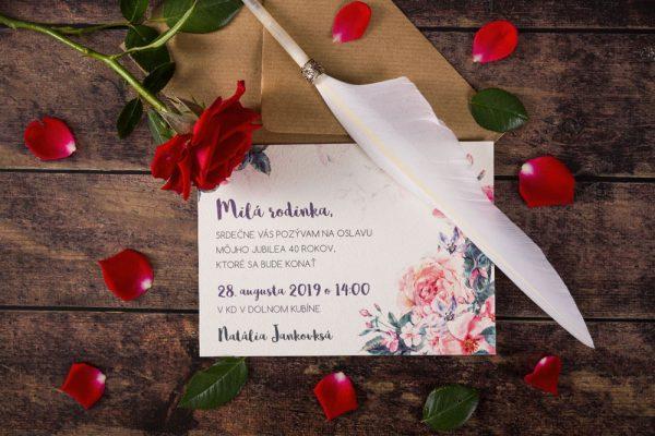 pozvánky na oslavu ruže