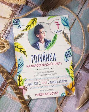 detská pozvánka na oslavu indian