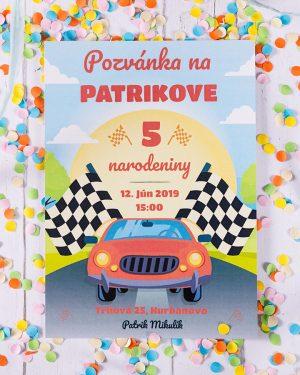Pozvánka na detskú oslavu auto