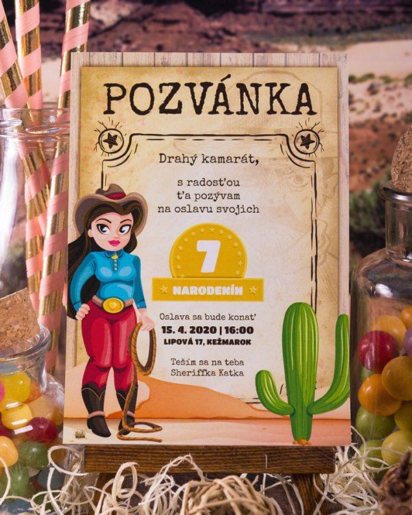 pozvanka na detsku party divoky zapad, motiv pre dievcata
