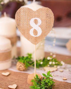 Jutové číslovanie na stôl