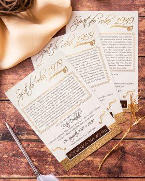elegantná zlatá pozvánka na jubileum ročníkovka