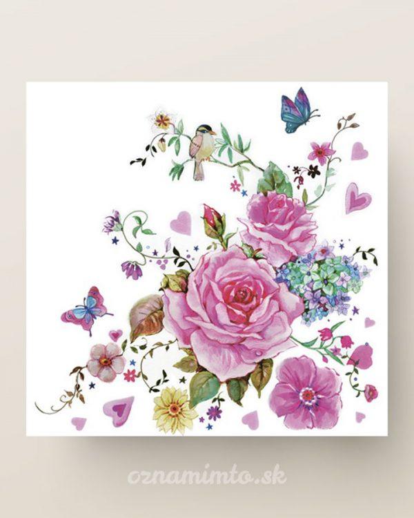 papierove servítky ruže s motýľmi