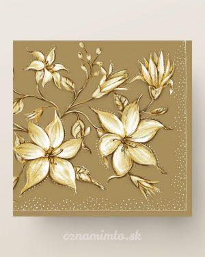 papierove servítky vintage kvety zlaté