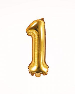 Balón číslo 1 zlatý 35cm