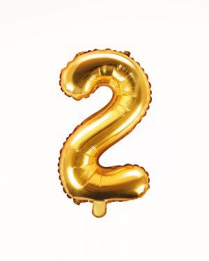 Balón číslo 2 zlatý 35cm