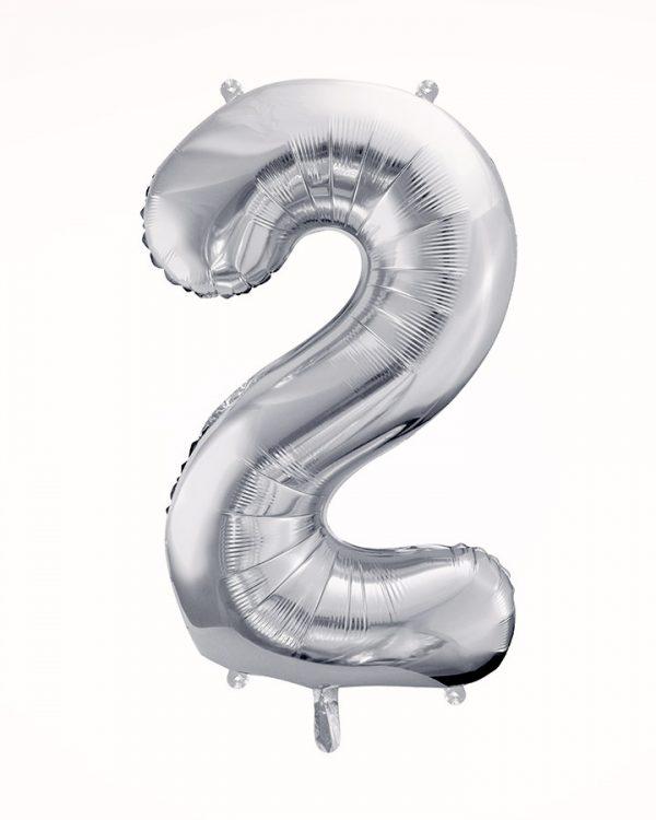 Balón číslo 2 strieborný