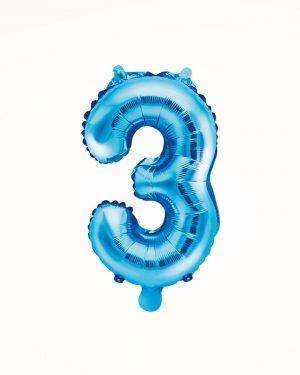 Balón číslo 3 modrý 35cm