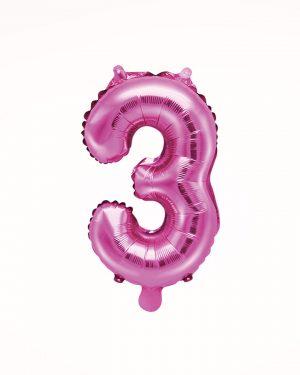 Balón číslo 3 ružový 35cm