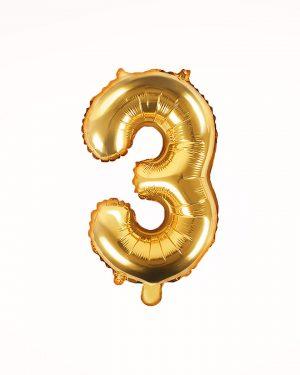 Balón číslo 3 zlatý 35cm