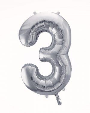 Balón číslo 3 strieborný