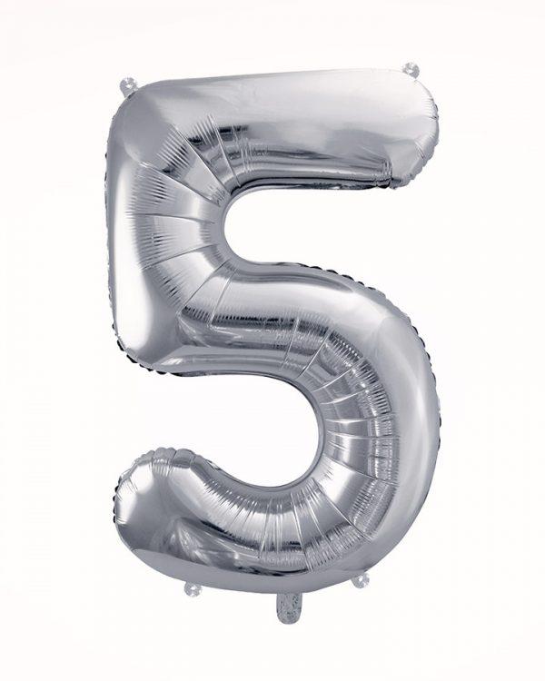 Balón číslo 5 strieborný