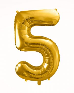 Balón číslo 5 zlatý