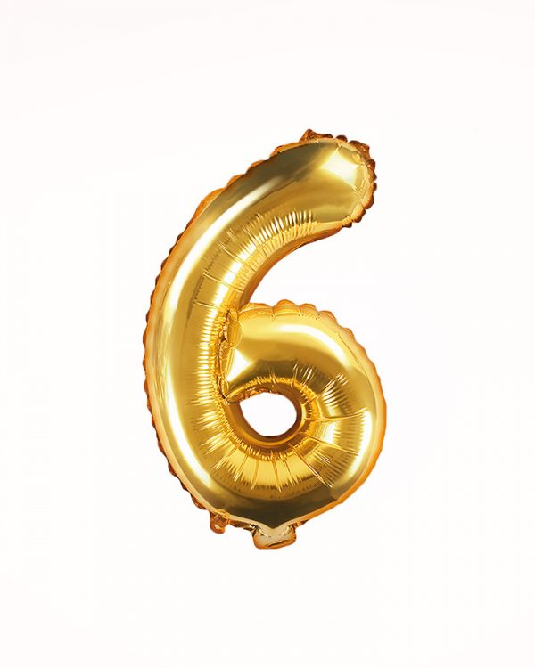 Balón číslo 6 zlatý 35cm
