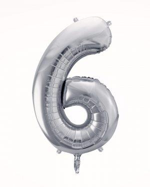 Balón číslo 6 strieborný