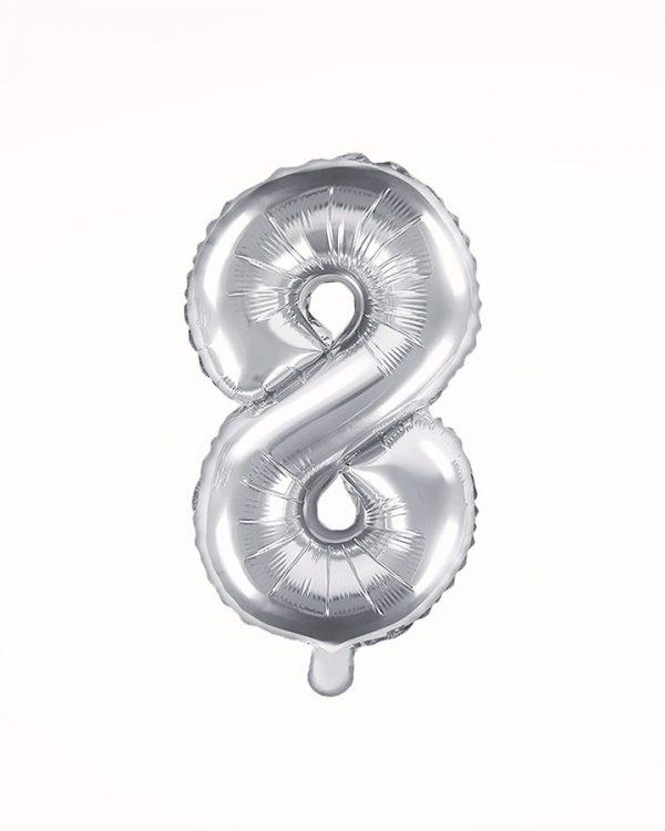 Balón číslo 8 strieborný 35cm