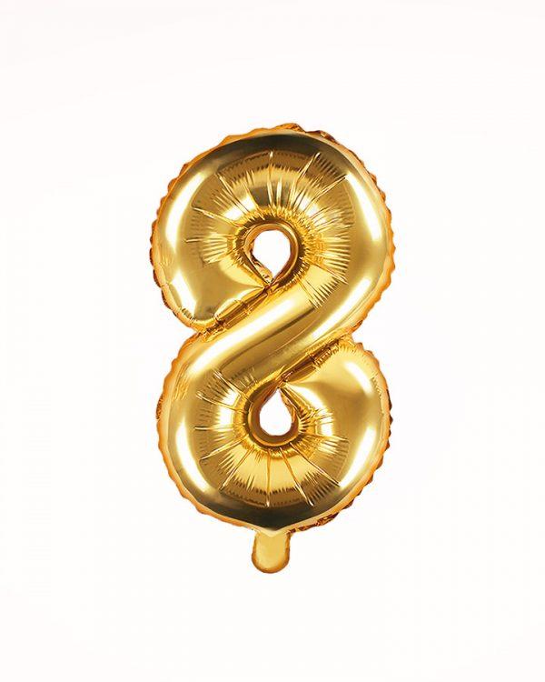 Balón číslo 8 zlatý 35cm