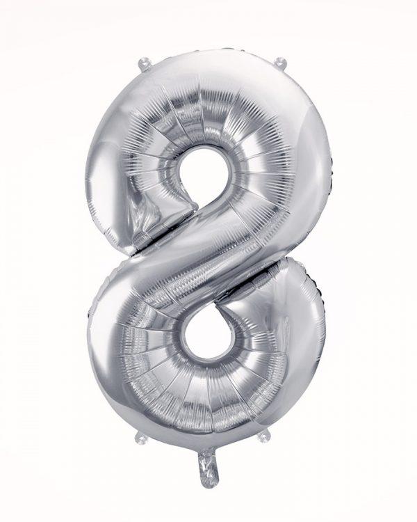 Balón číslo 8 strieborný