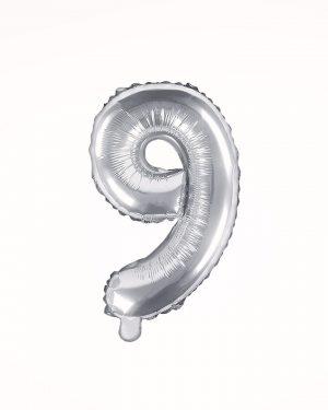 Balón číslo 9 strieborný 35cm