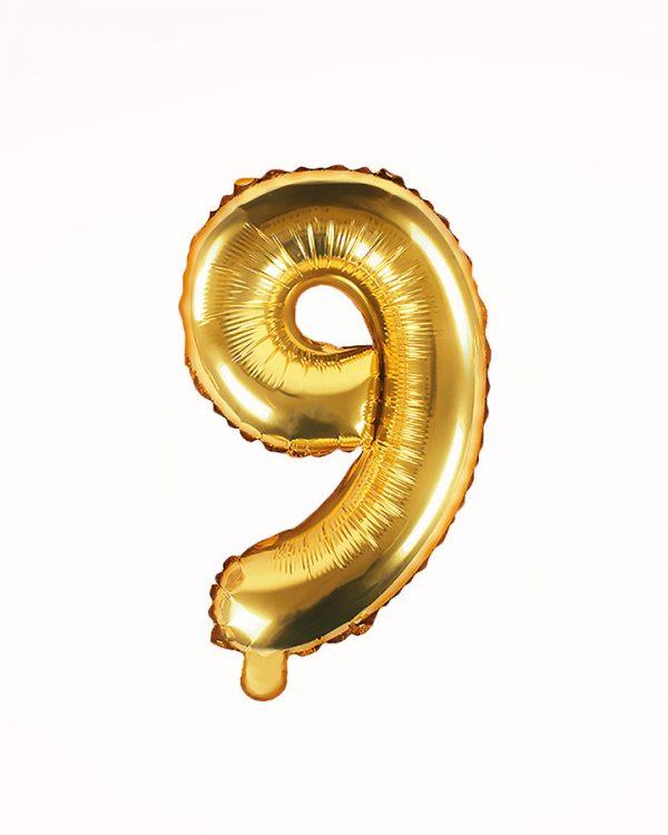 Balón číslo 9 zlatý 35cm