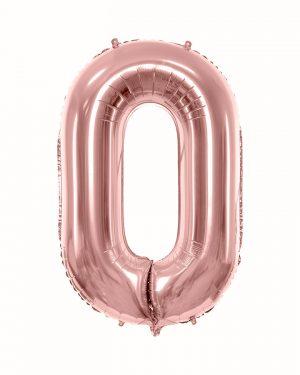 Balón číslo 0 nula fóliový ružovo zlatý 86cm