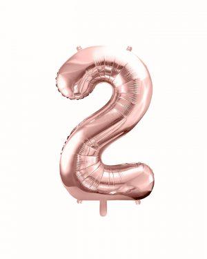 Balón číslo 2 dva fóliový ružovo zlatý 35cm