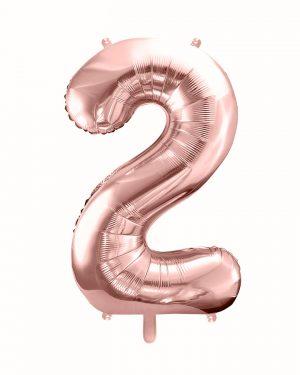 Balón číslo 2 dva fóliový ružovo zlatý 86cm
